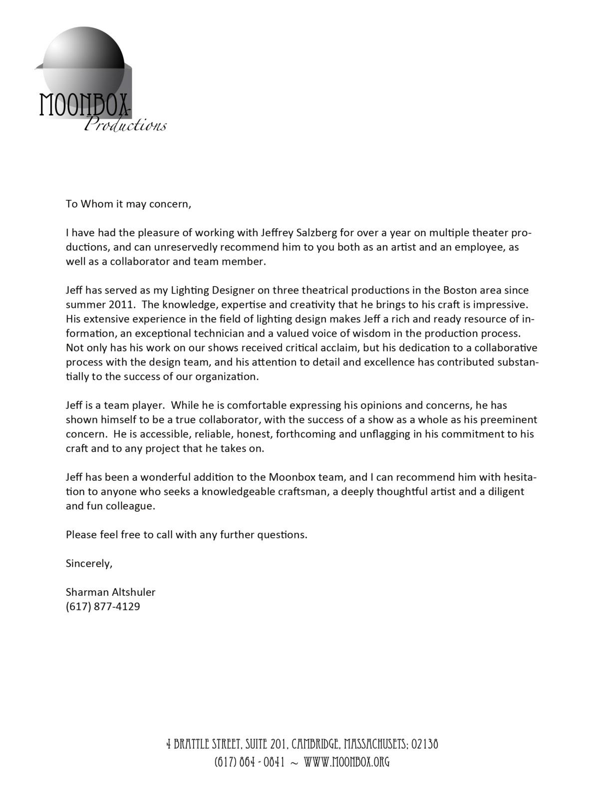Artistic Letter Of Recommendation  MaggiLocustdesignCo